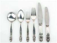 acorn pattern flatware service by georg jensen