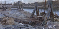 unloading herring on a harbour wall by kate macaulay