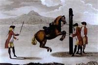 equestrian scene (from luz da liberal, e nobre arte da cavallaria) by manoel carlos de andrade