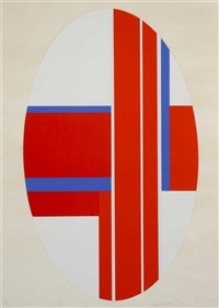 red, white and blue and untitled (2 works) by ilya bolotowsky