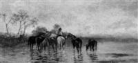 bauernknabe mit pferden am see by edoardo cortese