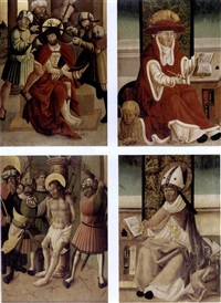 the crowning with thorns and saint jerome (+ the flagellation of christ and saint luke; pair of dbl-sided wing panels from an altarpiece) by austrian school-salzburg (16)