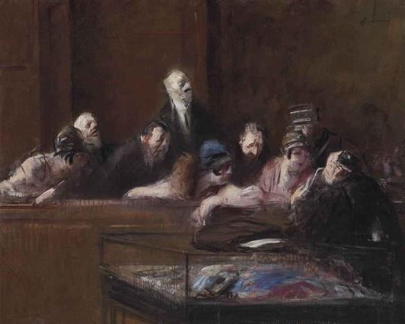 scène de tribunal, pièces à conviction by jean louis forain