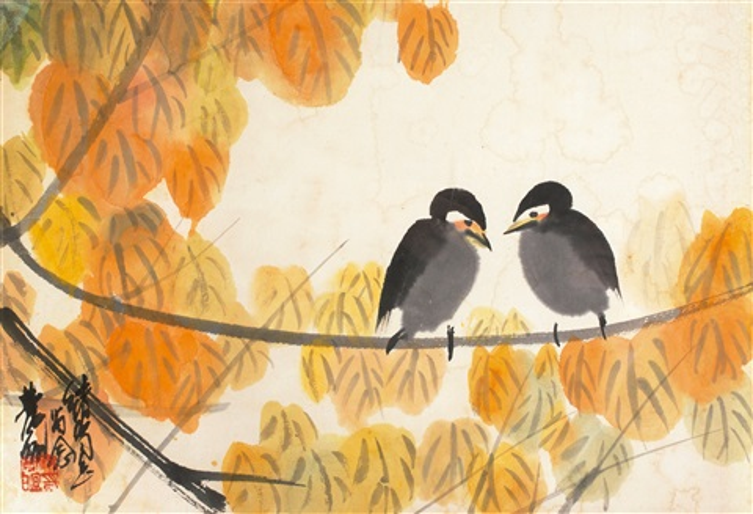 秋叶小鸟 birds and leaves by lin fengmian