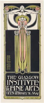 important poster, designed for the glasgow institute of the fine arts by james herbert mcnair, margaret macdonald, and frances macdonald