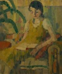 jeune fille à la lecture (couleurs fauves) by charles counhaye