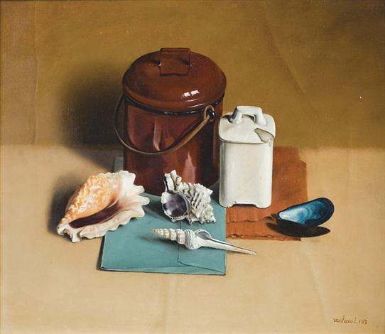 nature morte aux coquillages et petits pots by leonhardt van hees