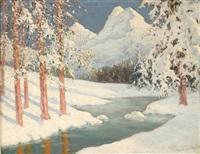 winter alpine stream by georges victor laurent dantu