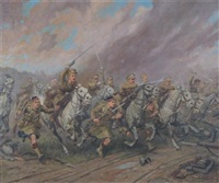 charge of the scots grey's and the highlanders at st. quentin by conrad leigh