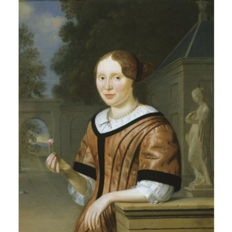 a portrait of a lady holding a rose by a statue of flora in a garden by pieter cornelisz van slingeland