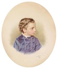 dreiviertelbildnis eines knaben in veilchenblauem kleid by josef kriehuber