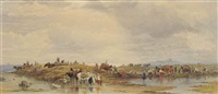 seaweed gatherers at low tide by edward duncan