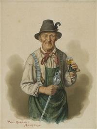 bauern mit weingläsern (+ winzer; pair) by peter krämer