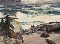 fisherman on rocky shore by john whorf