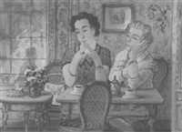 beim kaffeetrinken im salon by albert gottschow