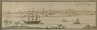 a new york view - view of lower manhattan island in 1759 by g. endicott