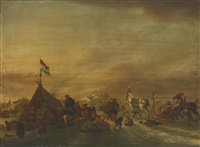 winter landscape with ice skaters, sleighs and a tent by philips wouwerman