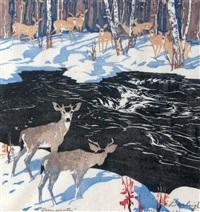 deer, winter by barbara (barleigh) leighton