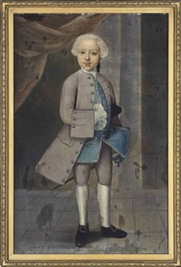 portrait of a young boy, full-length, in a dove grey coat and blue waistcoat, standing in an interior by pieter jacob horemans
