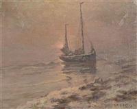 bateau de pêche ammaré au coucher de soleil by albert isidore de vos