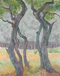 landschaft mit bäumen by helmut collmann