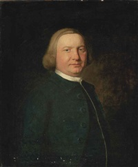 portrait of a gentleman richard collins?) in a blue coat and white stock by nathaniel hone the elder