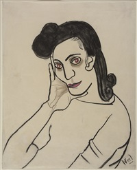 portrait of dark haired woman by alice neel