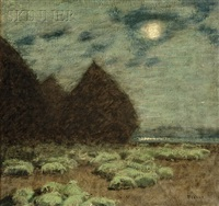 moonlit landscape with sleeping flock by louis paul dessar
