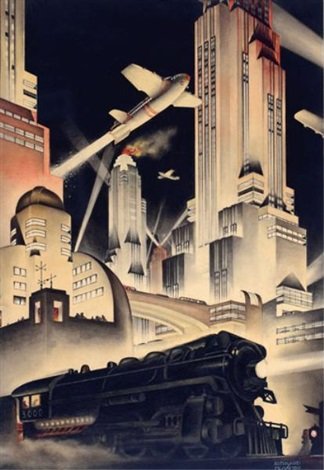 art deco cityscape by bernard mcmahon on artnet