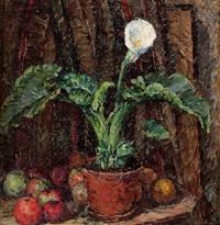 stillleben mit calla und äpfeln by margarethe (clara) von reinken