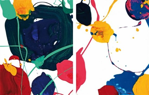 untitled (spider) (diptych) by sam francis