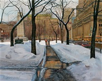melting snow, a view of dominion square with sun life building to the right by andris leimanis