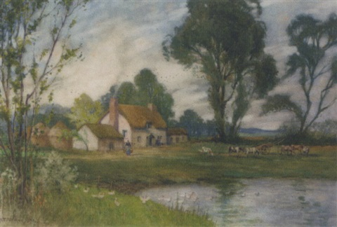 catlle grazing by a duck pond by william aikman