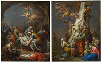 pendants - grablegung & kreuzabnahme (pair) by franz christoph janneck