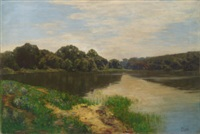 tranquil wooded river landscape by josé pinelo llull