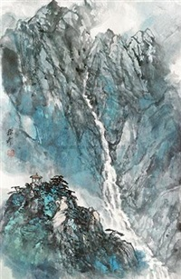 松壑鸣泉图 by liu chenqi