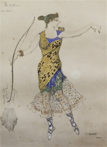 costume design for anna pavlova in the role of sylvia from the pas de diane by leon bakst
