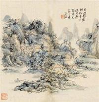山居图 镜片 设色纸本 by huang binhong