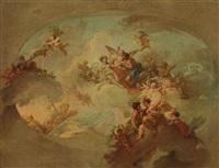 apollon, zéphir et chloris, mars et venus et les signes du zodiaque (preparatory study for a ceiling) by ramon bayeu y subias