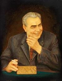 portrait of general secretary leonid ilich breschnev by a. krivtsova