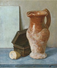 stilleven met schelpje - a still life with a shell by hendrikus ijkelenstam
