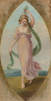 muse with two trumpets; muse with a flowing cloth; muse with a globe; muse with a harp; muse with a scroll; and muse with a trumpet: six paintings by angelika kauffmann
