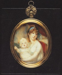 a mother and child, she wearing white dress with frilled neckline, a blue bandeau in her hair; her child in white dress and bonnet by edward nash