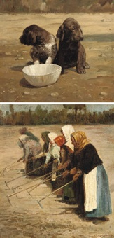 spaniels with a drinking bowl (+ peasant women ploughing; 2 works) by nikolai alekseevich melnikov