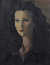 portrait of a woman, head and shoulders, wearing a dark dress with red shirt collar by jacob kramer