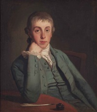 portrait of a gentleman, traditionally identified as george biddle, half-length, seated, in a blue coat, his right elbow resting on a table... by george romney