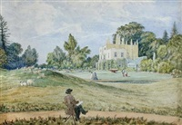 the artist thomas churchyard painting his mother mrs. churchyard's house at henley park by william (lieutenant) smyth