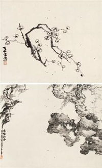 梅石双挖 (2 works on 1 scroll) by xiao junxian