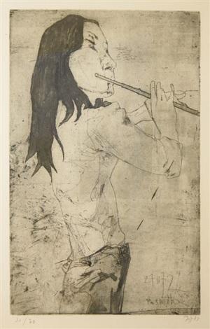 roswitha flötenspielerin by horst janssen