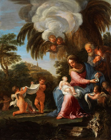 die heilige familie in hügeliger landschaft by carlo maratta